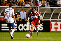 Chicago Fire midfielder Cuauhtemoc Blanco (10) prepares to take on Kansas City defender Jimmy Conrad (12).  The Chicago Fire defeated the Kansas City Wizards 2-0 at Toyota Park in Bridgeview, IL on August 25, 2007.