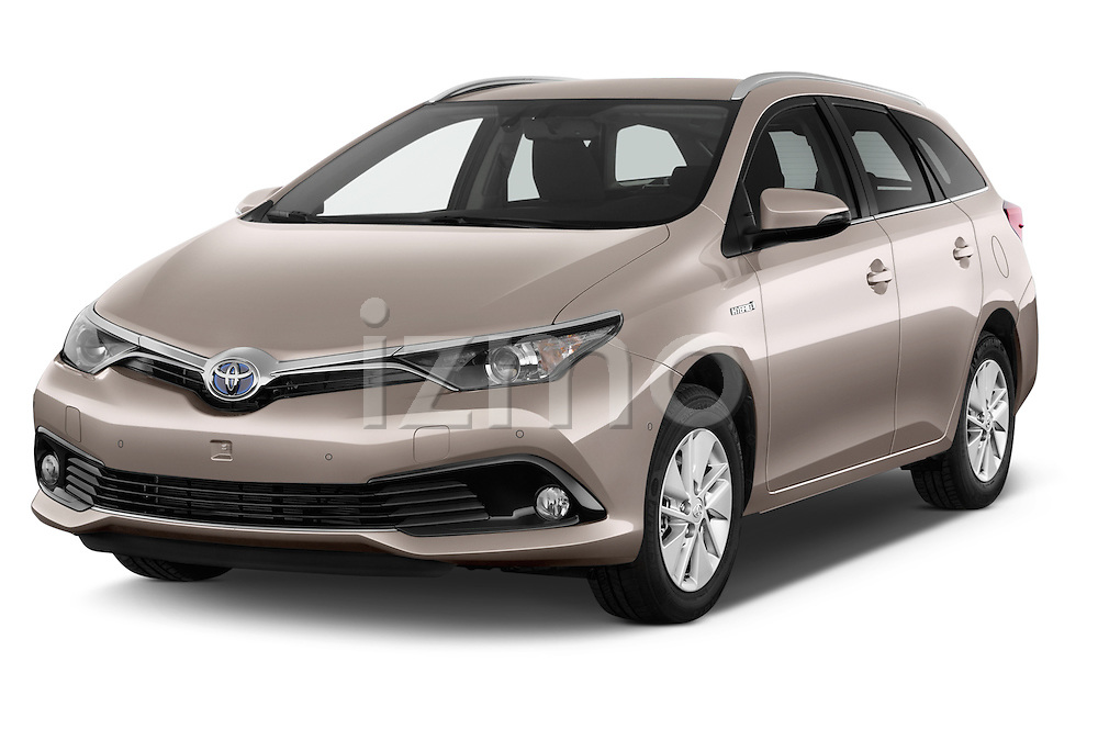 2015 Toyota Auris Touring Sports Business Plus 5 Door Wagon Angular Front stock photos of front three quarter view