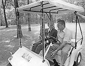 Prime Minister Menachem Begin of Israel, left, and Defense Minister Ezer Weizman of Israel, right, share some thoughts while riding in a golf cart at Camp David, near Thurmont, Maryland during the Egypt-Israel Summit with United States President Jimmy Carter (not pictured) and President Anwar Sadat of Egypt (not pictured)..Credit: White House via CNP