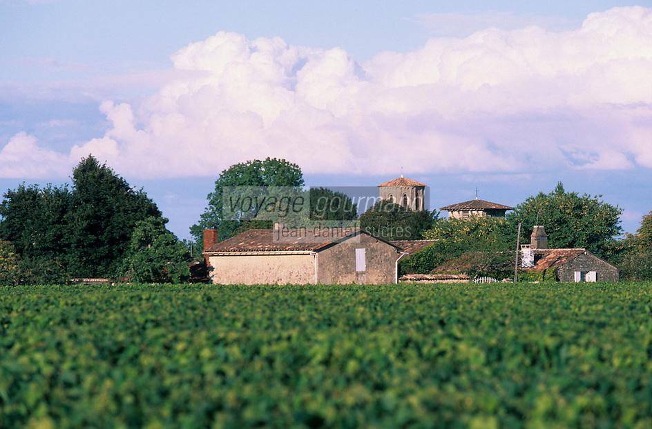 Europe/France/Aquitaine/33/Gironde/Vertheuil: L'église et les vignes de Château Landat - AOC Haut-Médoc