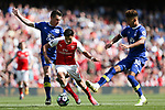 Alexis Sanchez of Arsenal and Everton's Mason Holgate during the English Premier League match at the Emirates Stadium, London. Picture date: May 21st 2017.Pic credit should read: Charlie Forgham-Bailey/Sportimage