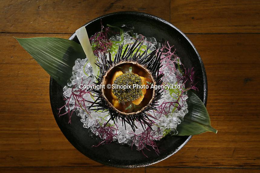 Oscietra Caviar (sea urchin) Waku Ghin Restaurant at Marina Bay,  in Singapore 13 March 2015.