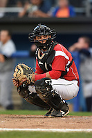 Batavia Muckdogs catcher Christopher Hoo (5) during a game against the Staten Island Yankees on August 8, 2014 at Dwyer Stadium in Batavia, New York.  Staten Island defeated Batavia 4-2.  (Mike Janes/Four Seam Images)