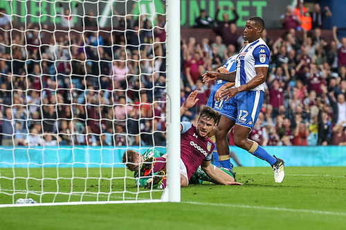 22nd August 2017, Villa Park, Birmingham, England; Football League Cup Second Round; Aston Villa versus Wigan Athletic; Scott Hogan of Aston Villa scores from close range in the 19th minute to put Aston Villa ahead 1-0