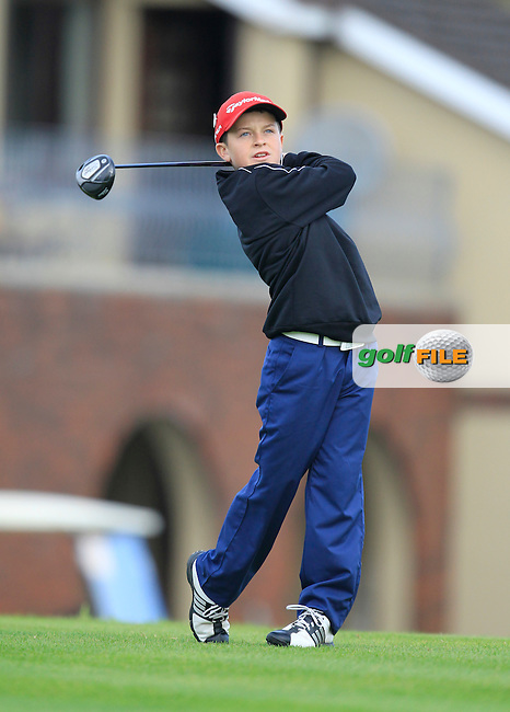 George Morgan (Grange) on the 1st tee during the Irish Boys Under 15 Amateur Open Championship Round 2 at the West Waterford Golf Club on Wednesday 21st August 2013 <br /> Picture:  Thos Caffrey/ www.golffile.ie