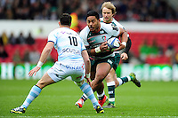 Manu Tuilagi of Leicester Tigers faces off against Dan Carter of Racing 92. European Rugby Champions Cup semi final, between Leicester Tigers and Racing 92 on April 24, 2016 at The City Ground in Nottingham, England. Photo by: Patrick Khachfe / JMP