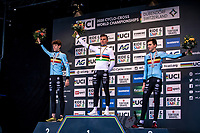 Men's Junior race podium:<br /> <br /> 1st place - Thibau Nys (BEL)<br /> 2nd place - Lennart Belmans (BEL)<br /> 3th place - Emiel Verstrynge (BEL)<br /> <br /> <br /> UCI 2020 Cyclocross World Championships<br /> Dübendorf / Switzerland<br /> <br /> ©kramon