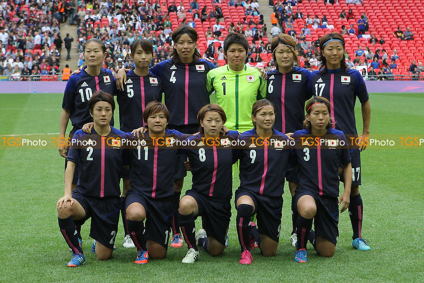 Japan line up before kick-off - France Women vs Japan Women - Womens Olympic Football Tournament London 2012 Semi-Final at Wembley Stadium - 06/08/12 - MANDATORY CREDIT: Gavin Ellis/SHEKICKS/TGSPHOTO - Self billing applies where appropriate - 0845 094 6026 - contact@tgsphoto.co.uk - NO UNPAID USE.