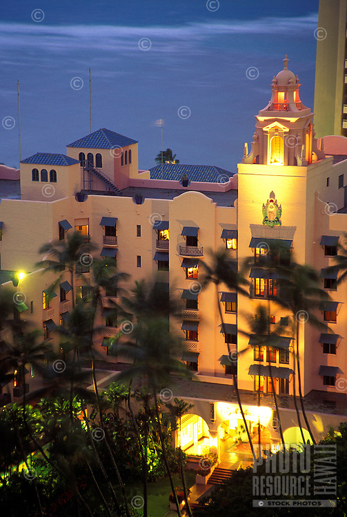 View from above of the Royal Hawaiian Hotel at dusk