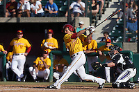 A.J. Ramirez #10 of the USC Trojans bats against the Northwestern Wildcats at Dedeaux Field on  February 16, 2014 in Los Angeles, California. USC defeated Northwestern, 13-6. (Larry Goren/Four Seam Images)