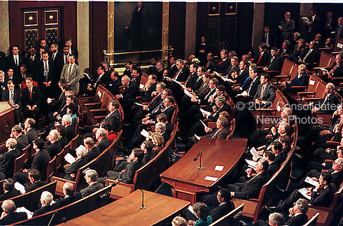 Republican members of the United States House and Senate listen as U.S. President Bill Clinton delivers his State of the Union Address in the U.S. Capitol in Washington, D.C. on 19 January, 1999..Credit: Ron Sachs / CNP