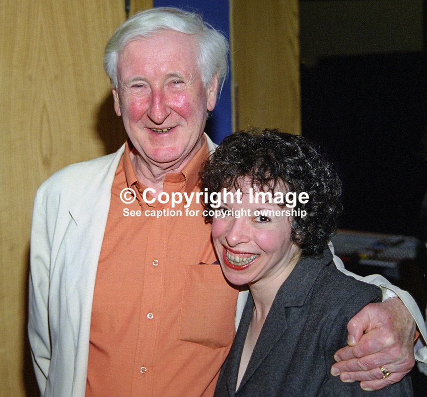 John Montague, New York-born, N Ireland poet and author, with his partner, Elizabeth Wassell, US born novelist, at Yeats Summer School in Sligo, Rep of Ireland. .Ref: 199908065.<br /> <br /> Copyright Image from Victor Patterson,<br /> 54 Dorchester Park, <br /> Belfast, UK, BT9 <br /> <br /> t1: +44 28 9066 1296 (from Rep of Ireland 048 90661296)<br /> t2: +44 28 9002 2446 (from Rep of Ireland 048 9002 2446)<br /> <br /> m: +44 7802 353836<br /> <br /> e: victorpatterson@me.com<br /> www.victorpatterson.com<br /> <br /> Please see my Terms and Conditions of Use at www.victorpatterson.com. It is IMPORTANT that you familiarise yourself with them.<br /> <br /> Images used on the Internet must be visibly watermarked i.e. &copy; Victor Patterson<br /> within the body of the image and copyright metadata must not be deleted. Images <br /> used on the Internet have a size restriction of 4kbs and will be chargeable at current<br />  NUJ rates unless agreed otherwise.<br /> <br /> This image is only available for the use of the download recipient i.e. television station, newspaper, magazine, book publisher, etc, and must not be passed on to any third <br /> party. It is also downloaded on condition that each and every usage is notified within 7 days to victorpatterson@me.com<br /> <br /> The right of Victor Patterson to be identified as the author is asserted in accordance with The Copyright Designs And Patents Act (1988). All moral rights are asserted.