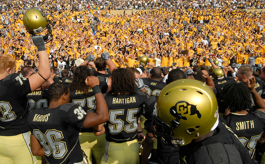 06 September 08: Colorado players meet the CU student section fans after a game against Eastern Washington. The Colorado Buffaloes defeated the Eastern Washington Eagles 31-24 at Folsom Field in Boulder, Colorado. FOR EDITORIAL USE ONLY