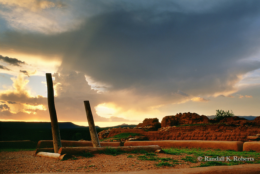 Kiva ladder at sunset, Pecos National Monument, New Mexico