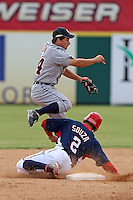 October 5, 2009:  Second Baseman Chris Sedon of the Detroit Tigers organization turns a double play over Steven Souza during an Instructional League game at Space Coast Stadium in Viera, FL.  Sedon was selected in the 10th round of the 2009 MLB Draft.  Photo by:  Mike Janes/Four Seam Images