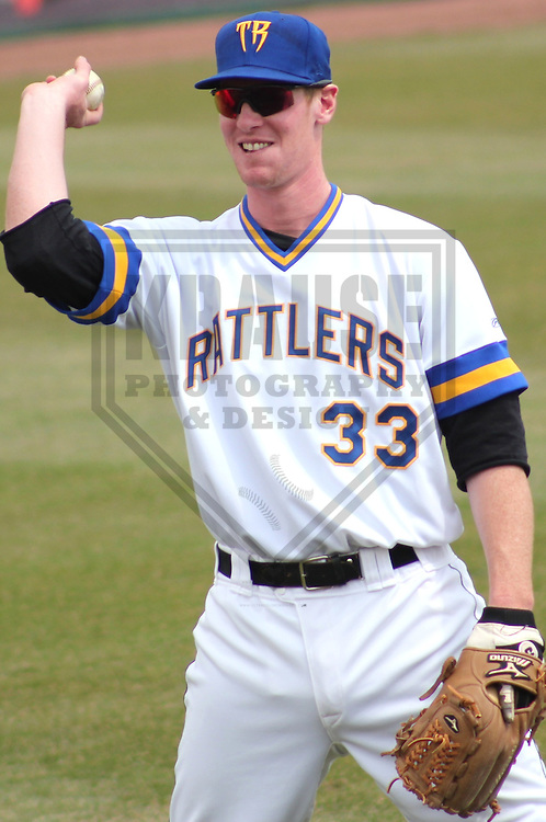 APPLETON - APRIL 2011: Mike Walker (33) of the Wisconsin Timber Rattlers, Class-A affiliate of the Milwaukee Brewers, during a game on April 10, 2011 at Fox Cities Stadium in Appleton, Wisconsin. (Photo by Brad Krause) ....