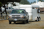Pickup and horse trailer in Crescent City California