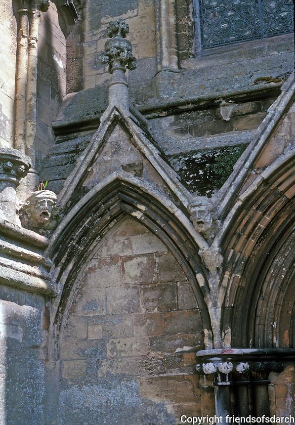 Salisbury: Salisbury Cathedral--Detail, Obliteration, West Front. Photo '90.