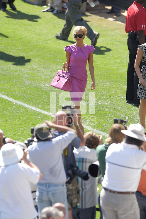 Victoria Beckham, arrives on the field before he is introduced as the newest member of the Los Angeles Galaxy soccer team at the Home Depot Center in Carson, Calif., Friday, July 13, 2007.