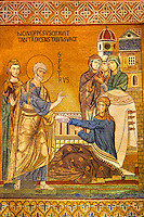 Byzantine mosaic of Tabitha being raised from the dead by Saint Peter. Tabitha is adorned with the garments she had woven for some widows and had given to them as charity. The Palatine Chapel, Norman Palace, Sicily travel photos & pictures available as stock photos, pictures & images & also to download as photo art prints.