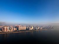 Morgenstimmung am Taedong-Fluss,Pyongyang, Nordkorea, Asien<br /> Morning at Taedong river, Pyongyang, North Korea, Asia