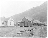 Railroad yard at Silverton with G. H. Steibers Pulic Sampling Works.<br /> Silverton, CO  1893