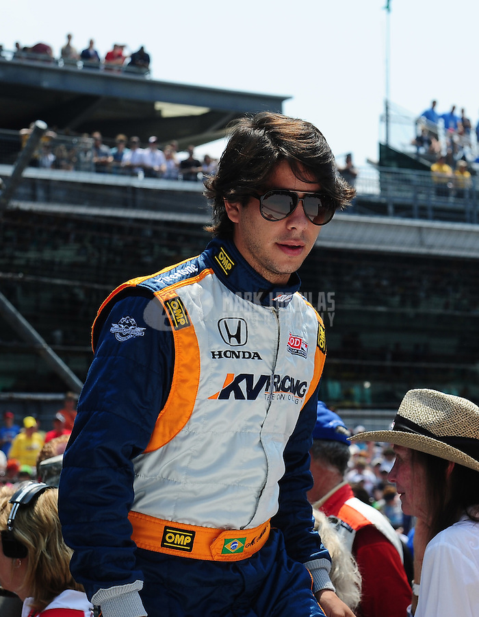 May 30, 2010; Indianapolis, IN, USA; IndyCar Series driver Mario Moraes during the Indianapolis 500 at the Indianapolis Motor Speedway. Mandatory Credit: Mark J. Rebilas-