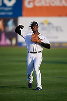 Connecticut Tigers Jeremiah Burks (28) warms up before a game against the Hudson Valley Renegades on August 20, 2018 at Dodd Stadium in Norwich, Connecticut.  Hudson Valley defeated Connecticut 3-1.  (Mike Janes/Four Seam Images)
