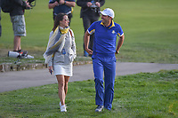 Sergio Garcia (Team Europe) and his wife, Angela celebrate his win following Sunday's singles of the 2018 Ryder Cup, Le Golf National, Guyancourt, France. 9/30/2018.<br /> Picture: Golffile | Ken Murray<br /> <br /> <br /> All photo usage must carry mandatory copyright credit (© Golffile | Ken Murray)