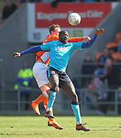 Blackpool's Sean Longstaff in action with Fleetwood Town's Toumani Diagouraga<br /> <br /> Photographer Mick Walker/CameraSport<br /> <br /> The EFL Sky Bet League One - Blackpool v Fleetwood Town - Saturday 14th April 2018 - Bloomfield Road - Blackpool<br /> <br /> World Copyright &copy; 2018 CameraSport. All rights reserved. 43 Linden Ave. Countesthorpe. Leicester. England. LE8 5PG - Tel: +44 (0) 116 277 4147 - admin@camerasport.com - www.camerasport.com