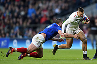 Jonny May of England is tackled by Louis Picamoles of France. Guinness Six Nations match between England and France on February 10, 2019 at Twickenham Stadium in London, England. Photo by: Patrick Khachfe / Onside Images