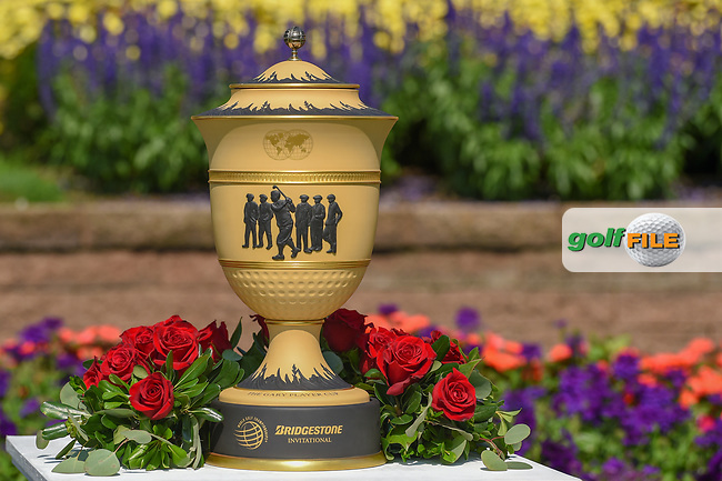 The Gary Player Cup is on display near the first tee during 3rd round of the World Golf Championships - Bridgestone Invitational, at the Firestone Country Club, Akron, Ohio. 8/4/2018.<br /> Picture: Golffile | Ken Murray<br /> <br /> <br /> All photo usage must carry mandatory copyright credit (© Golffile | Ken Murray)