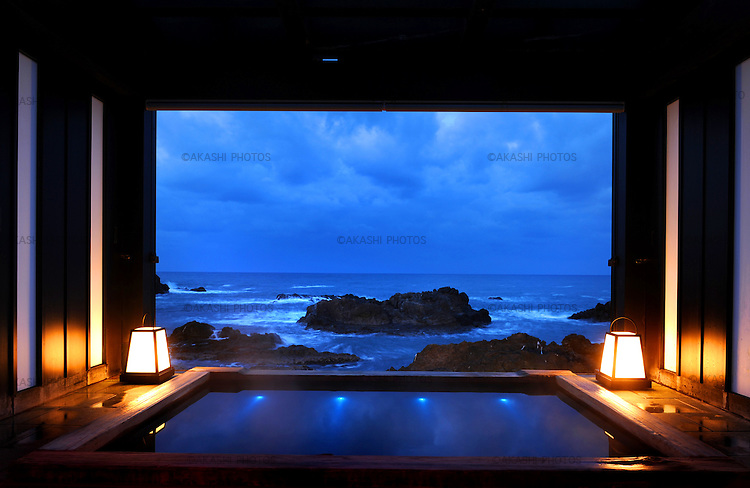 Private Hot spring bath with a view of the Sea of Japan in Lamp no Yado, luxurious Japanese ryokan, located on the tip of Noto Peninsula.