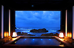 Private Hot spring bath with a view of the Sea of Japan in Lamp no Yado, luxurious Japanese ryokan, located on the tip of Noto Peninsula.<br />