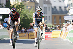 Elizabeth Deignan (GBR) Trek-Segafredo Women crosses the finish line at the end of La Course 2019 By Le Tour running 121km from Pau to Pau, France. 19th July 2019.<br /> Picture: Colin Flockton | Cyclefile<br /> All photos usage must carry mandatory copyright credit (© Cyclefile | Colin Flockton)
