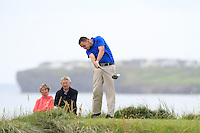 Ian O'Rourke (The Royal Dublin) on the 12th tee during the Quarter Finals of The South of Ireland in Lahinch Golf Club on Tuesday 29th July 2014.<br /> Picture:  Thos Caffrey / www.golffile.ie