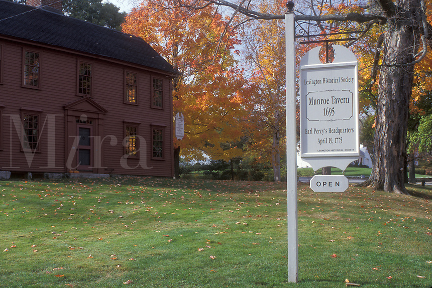 Lexington, Massachusetts, A white sign welcomes visitors into the Monroe Tavern, ca.1695, a Historical Society House.