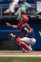 State College Spikes catcher Jose Godoy (35) during a game against the Batavia Muckdogs August 23, 2015 at Dwyer Stadium in Batavia, New York.  State College defeated Batavia 8-2.  (Mike Janes/Four Seam Images)