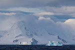 Views of icebergs in the Southern Ocean as seen from on board the National Geographic Explorer, Antarctica