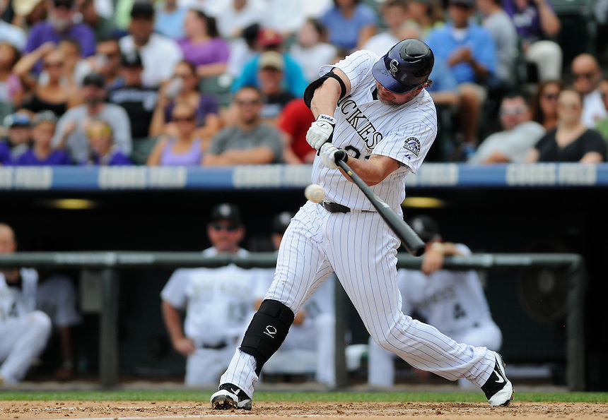 21 AUGUST 2011:  Colorado Rockies first baseman Jason Giambi (23)   during a regular season game between the Los Angeles Dodgers and the Colorado Rockies at Coors Field in Denver, Colorado. The Rockies beat the Dodgers 5-3. *****For Editorial Use Only*****