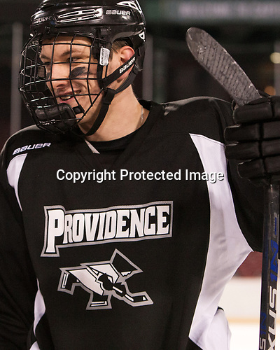 Vincent Desharnais (PC - 2) - The Providence College Friars practiced on the rink at Fenway Park on Friday, January 6, 2017.
