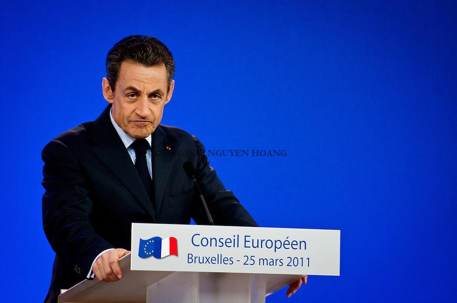 ©VIRGINIE NGUYEN HOANG/WOSTOK PRESS.Belgique, Bruxelles.25/03/2011?.Conference de presse de Nicolas Sarkozy, president français lors du Sommet europeen, Bruxelles.Press conference of Nicolas Sarkozy, President of France at the European summit in Brussels