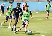 Silas Zehnder (SV Darmstadt 98) gegen Braydon Manu (SV Darmstadt 98) - 01.08.2020: SV Darmstadt 98 Trainingsauftakt, Stadion am Boellenfalltor, 2. Bundesliga, emonline, emspor<br /> <br /> DISCLAIMER: <br /> DFL regulations prohibit any use of photographs as image sequences and/or quasi-video.