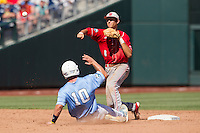North Carolina State shortstop Trea Turner (8) turns a double play during Game 3 of the 2013 Men's College World Series between the North Carolina State Wolfpack and North Carolina Tar Heels at TD Ameritrade Park on June 16, 2013 in Omaha, Nebraska. The Wolfpack defeated the Tar Heels 8-1. (Andrew Woolley/Four Seam Images)