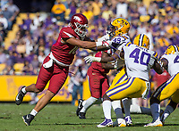 NWA Democrat-Gazette/BEN GOFF @NWABENGOFF<br /> Jeremy Patton (18), Arkansas tight end, blocks Arden Key, (49), LSU linebacker, in the third quarter Saturday, Nov. 11, 2017 at Tiger Stadium in Baton Rouge, La.