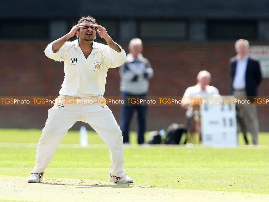 A Aslam of Gidea Park reacts after going close to a wicket - Old Brentwoods CC vs Gidea Park & Romford CC - Essex Cricket League Cup - 26/04/08 - MANDATORY CREDIT: Gavin Ellis/TGSPHOTO. Self-Billing applies where appropriate. NO UNPAID USE. Tel: 0845 094 6026