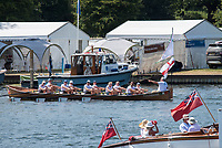 """Henley on Thames, United Kingdom, 7th July 2018, Friday, View,  from the """"Regatta Enclosure, """"Fourth day"""", of the annual,  """"Henley Royal Regatta"""", Henley Reach, River Thames, Thames Valley, England, © Peter SPURRIER,"""
