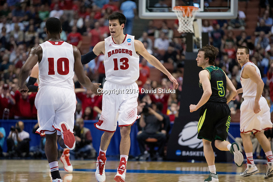 Wisconsin Badgers teammates Duje Dukan (13) and Nigel Hayes (10) celebrate during  a regional semifinal NCAA college basketball tournament game against the Baylor Bears Thursday, March 27, 2014 in Anaheim, California. The Badgers won 69-52. (Photo by David Stluka)