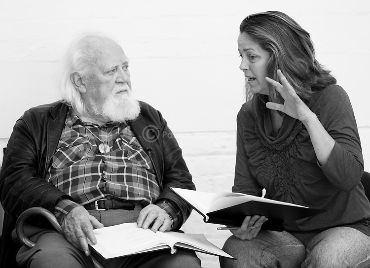 """""""King Lear"""" rehearsed reading rehearsals. Old Vic Theatre. Director: Jonathan Miller. Joss Ackland, Greta Scacchi."""