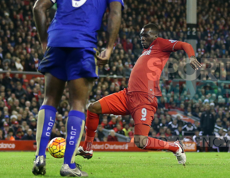 Liverpool's Christian Benteke scoring his sides opening goal<br /> <br /> Barclays Premier League- Liverpool vs Leicester City - Anfield - England - 26th December 2015 - Picture David Klein/Sportimage